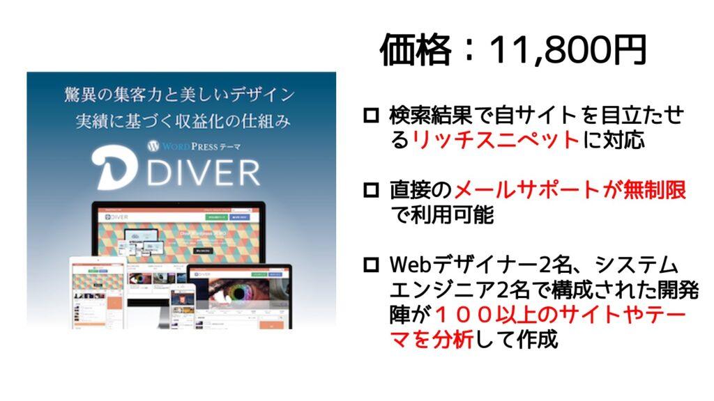 DIVER:価格11,800円 ・検索結果で自サイトを目立たせるリッチスニペットに対応 ・直接のメールサポートが無制限で利用可能 ・Webデザイナー2名、システムエンジニア2名で構成された開発陣が100以上のサイトやテーマを分析して作成